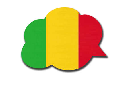 3d speech bubble with Malian national flag isolated on white