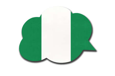 3d speech bubble with Nigerian national flag isolated on white