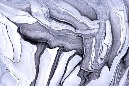 Abstract fluid art background light gray and white colors. Liquid marble.