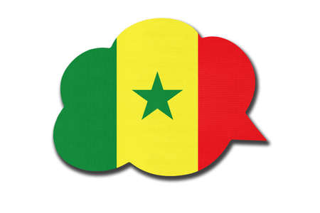 3d speech bubble with Senegalese national flag isolated on white