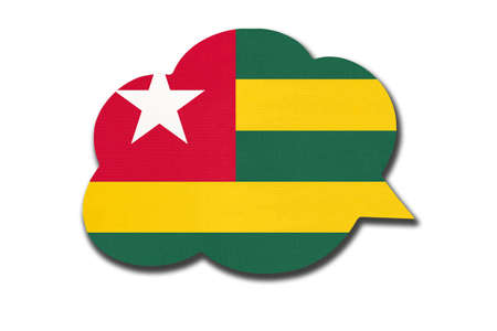 3d speech bubble with Togolese Republic national flag isolated on white