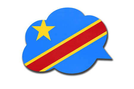 3d speech bubble with Congolese national flag isolated on white