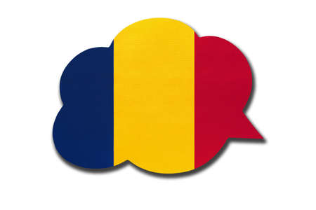3d speech bubble with Chadian national flag isolated on white