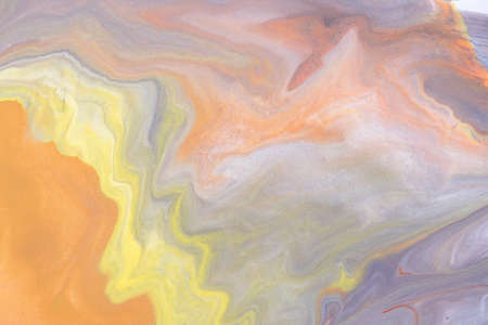 Abstract fluid art pattern light orange and gray colors. Liquid marble.