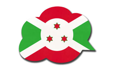 3d speech bubble with Burundian national flag isolated on white Archivio Fotografico