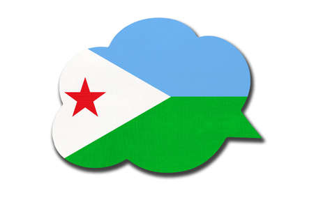 3d speech bubble with Djiboutian national flag isolated on white Archivio Fotografico