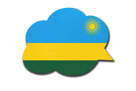 3d speech bubble with Rwandan national flag isolated on white Archivio Fotografico