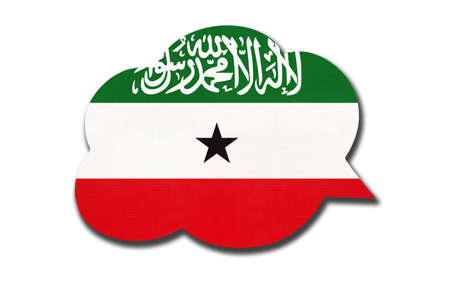 3d speech bubble with Somalilander national flag isolated on white Archivio Fotografico