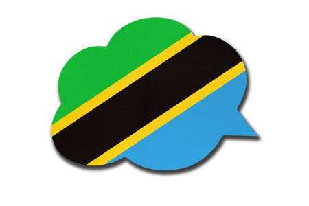 3d speech bubble with Tanzanian national flag isolated on white