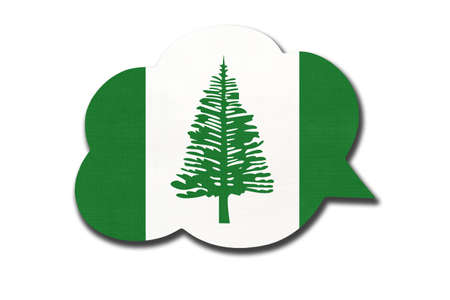 3d speech bubble with Norfuk national flag isolated on white background. Symbol of Norfolk Island country. World communication sign.
