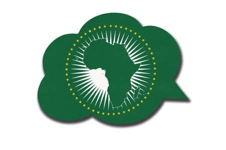 3d speech bubble with African Union flag isolated on white background. Symbol of Africa continent flag. World sign.