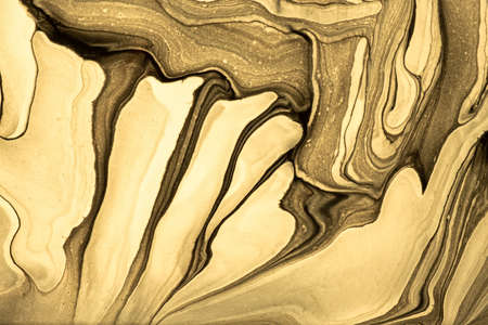 Abstract fluid art background light golden and colors. Liquid marble. Acrylic painting on canvas with yellow gradient. Watercolor backdrop with wavy pattern. Stone section.