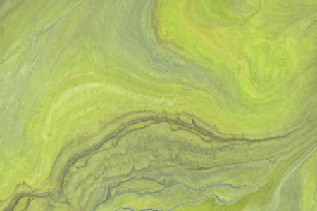 Abstract fluid art background light green and gray colors. Liquid marble. Acrylic painting with olive gradient and splash. Watercolor backdrop with wavy pattern. Stone marbled section.