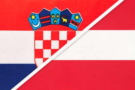 Croatia and Austria, symbol of country. Croatian vs Austrian national flags.