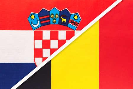 Croatia and Belgium, symbol of country. Croatian vs Belgian national flags. Archivio Fotografico