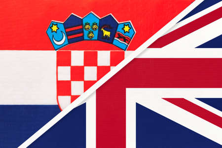 Croatia and United Kingdom of Great Britain or UK, symbol of country. Croatian vs English national flags. Archivio Fotografico