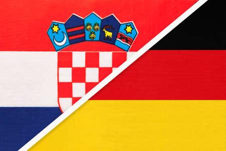 Croatia and Germany, symbol of country. Croatian vs German national flags.