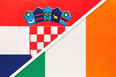 Croatia and Ireland, symbol of country. Croatian vs Irish national flags.