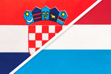 Croatia and Luxembourg, symbol of country. Croatian vs Luxembourgish national flags.
