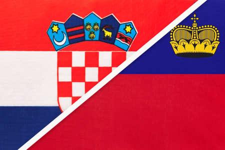 Croatia and Liechtenstein, symbol of country. Croatian vs Liechtensteiner national flags. Archivio Fotografico