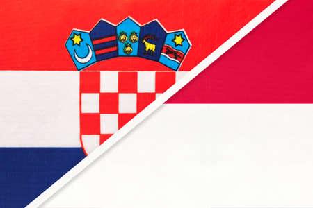 Croatia and Monaco, symbol of country. Croatian vs Monacan national flags.