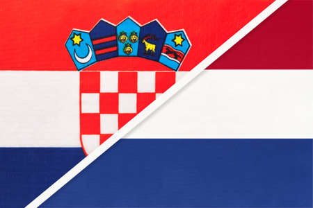 Croatia and Netherlands or Holland, symbol of country. Croatian vs Dutch national flags.