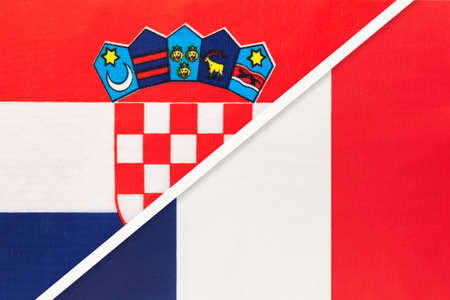 Croatia and France, symbol of country. Croatian vs French national flags.