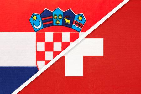 Croatia and Switzerland symbol of country. Croatian vs Swiss national flags.