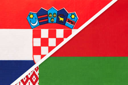 Croatia and Belarus, symbol of country. Croatian vs Belarusian national flags.