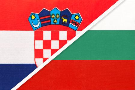 Croatia and Bulgaria, symbol of country. Croatian vs Bulgarian national flags.