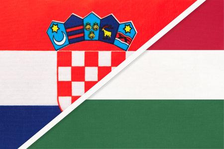 Croatia and Hungary, symbol of country. Croatian vs Hungarian national flags.