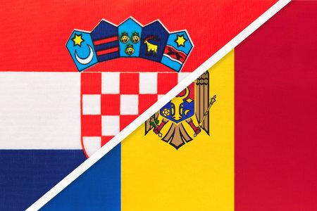 Croatia and Moldova, symbol of country. Croatian vs Moldovan national flags.