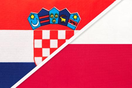 Croatia and Poland, symbol of country. Croatian vs Polish national flags.