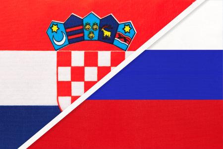 Croatia and Russia, symbol of country. Croatian vs Russian national flags.