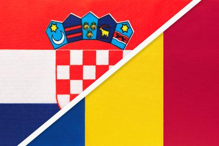 Croatia and Romania, symbol of country. Croatian vs Romanian national flags.
