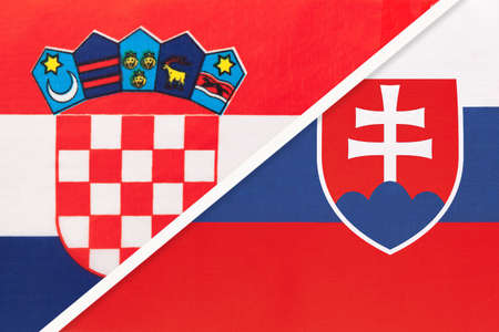 Croatia and Slovakia, symbol of country. Croatian vs Slovak national flags. Archivio Fotografico