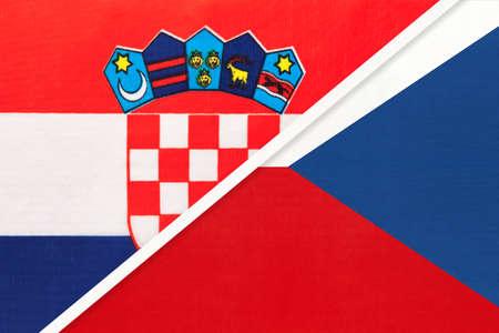 Croatia and Czechia, symbol of country. Croatian vs Czech Republic national flags. Archivio Fotografico