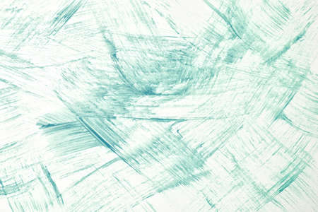 Abstract art background light green and white colors. Watercolor painting on canvas with strokes and splash. Acrylic artwork on paper with turquoise spotted pattern. Texture backdrop.