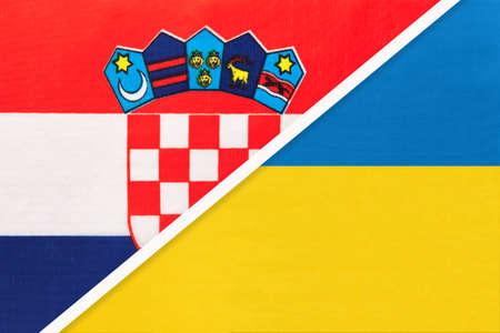 Croatia and Ukraine, symbol of country. Croatian vs Ukrainian national flags. Archivio Fotografico