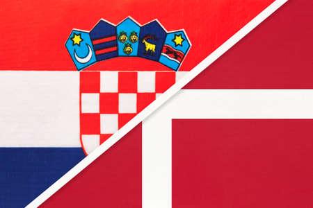 Croatia and Denmark, symbol of country. Croatian vs Danish national flags. Archivio Fotografico