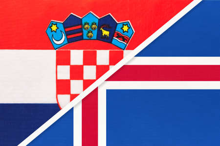 Croatia and Iceland, symbol of country. Croatian vs Icelandic national flags.