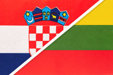 Croatia and Lithuania, symbol of country. Croatian vs Lithuanian national flags.