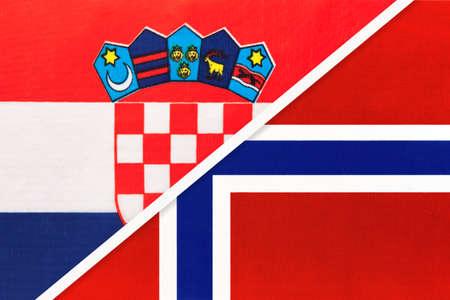 Croatia and Norway, symbol of country. Croatian vs Norwegian national flags. Archivio Fotografico