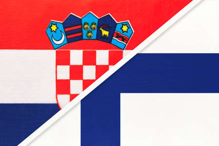 Croatia and Finland, symbol of country. Croatian vs Finnish national flags.
