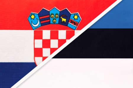 Croatia and Estonia, symbol of country. Croatian vs Estonian national flags. Archivio Fotografico