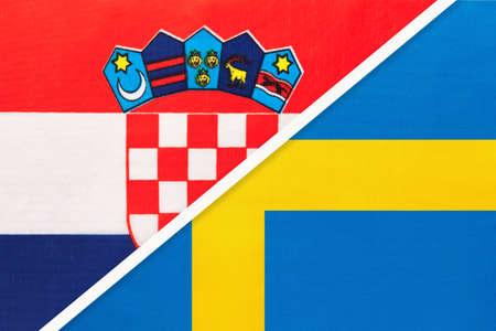 Croatia and Sweden, symbol of country. Croatian vs Swedish national flags. Archivio Fotografico