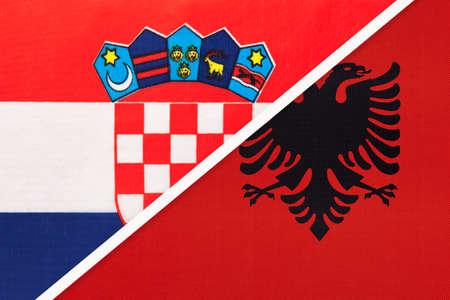 Croatia and Albania, symbol of country. Croatian vs Albanian national flags.