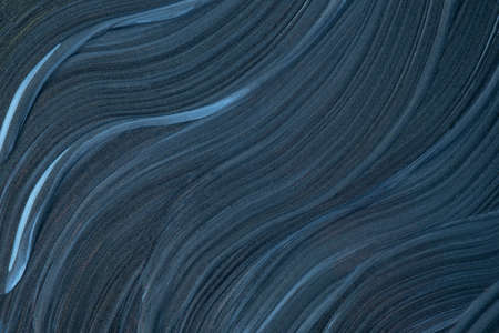 Abstract fluid art background navy blue colors. Liquid marble. Acrylic painting on canvas with dark gray gradient. Watercolor backdrop with wavy pattern. Archivio Fotografico