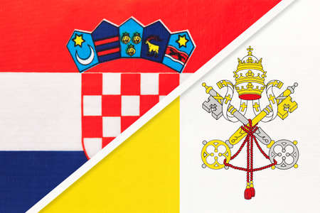 Croatia and Vatican City, symbol of country. Croatian national flags.