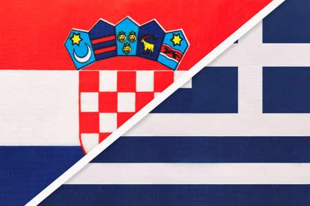 Croatia and Greece or Hellenic Republic, symbol of country. Croatian vs Greek national flags.
